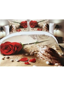 Rose and Conch on Beach Print 4-Piece Polyester 3D Duvet Cover