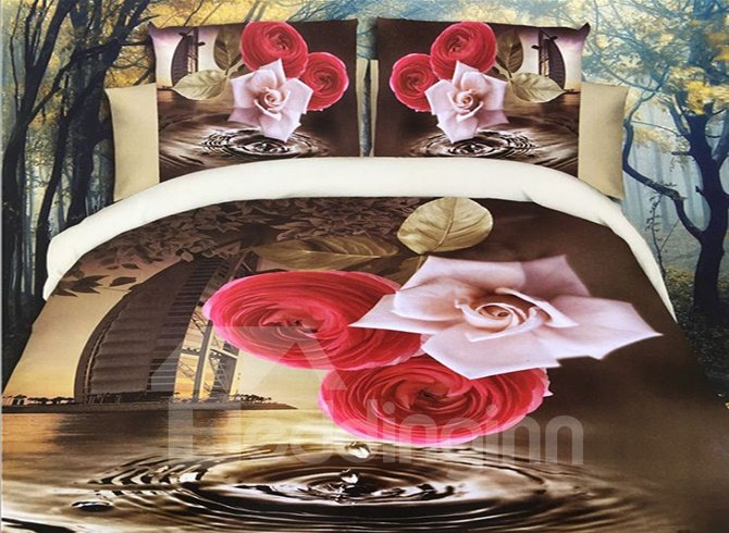 Burj Al Arab and Rose Print 4-Piece Polyester 3D Duvet Cover