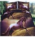 Gorgeous Brown Horse Print 4-Piece Polyester 3D Duvet Cover