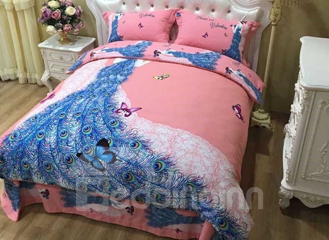 Girl in Peacock Feather Wedding Dress Cotton 4-Piece Duvet Cover Sets