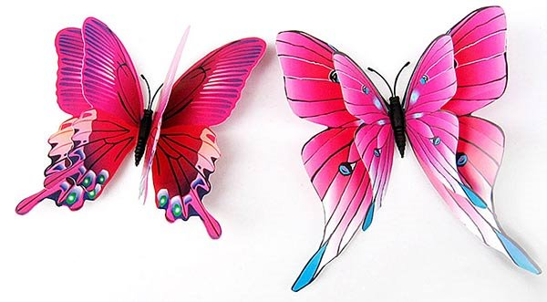 Vivid Butterfly with Double Layers Wings 12-Piece Wall Decal Kit