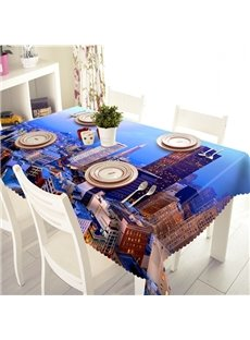 Modern Fashion Polyester City Buildings Pattern 3D Tablecloth