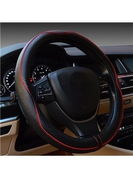 Classic Black And Red Streamline Design Leatherette Steering Wheel Cover