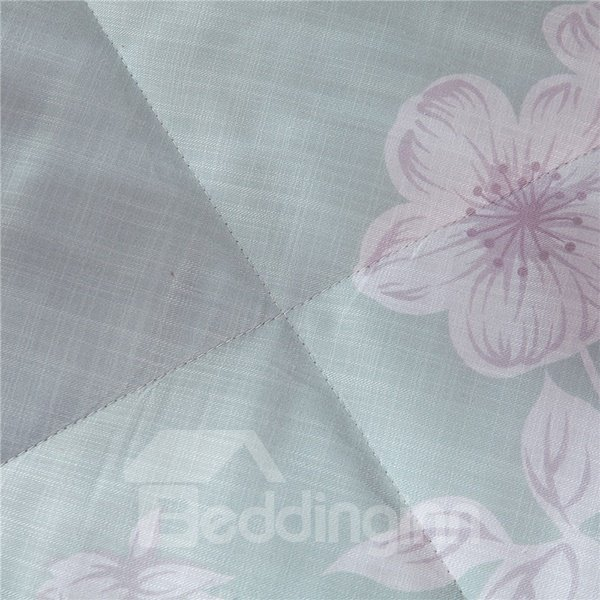 Chic White Flower Print Light Blue Air Conditioner Quilt