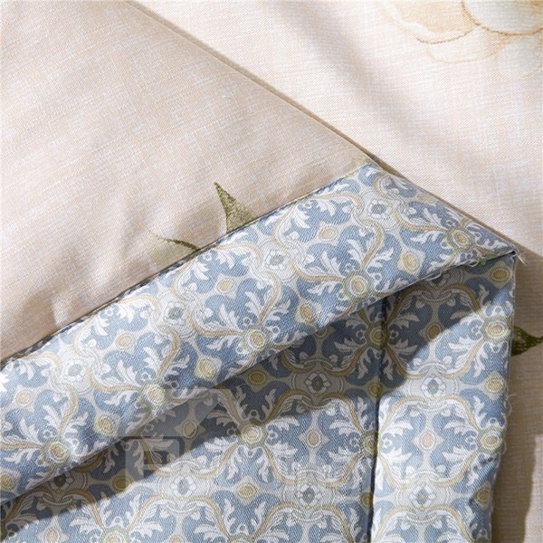 Stylish White Peony Print Air Conditioner Quilt