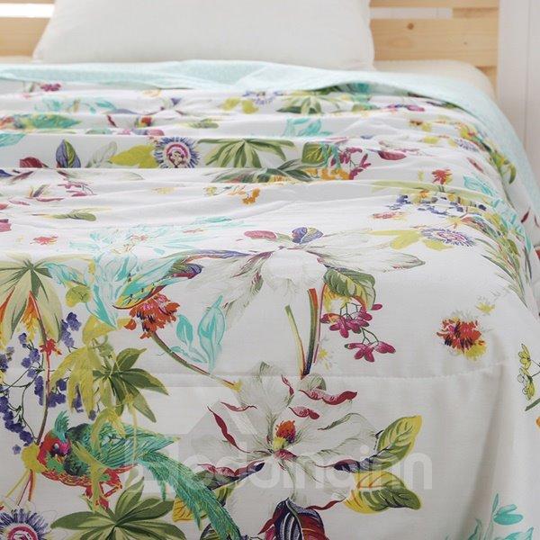 Rural Style Splendid Magnolia Print Air Conditioner Quilt