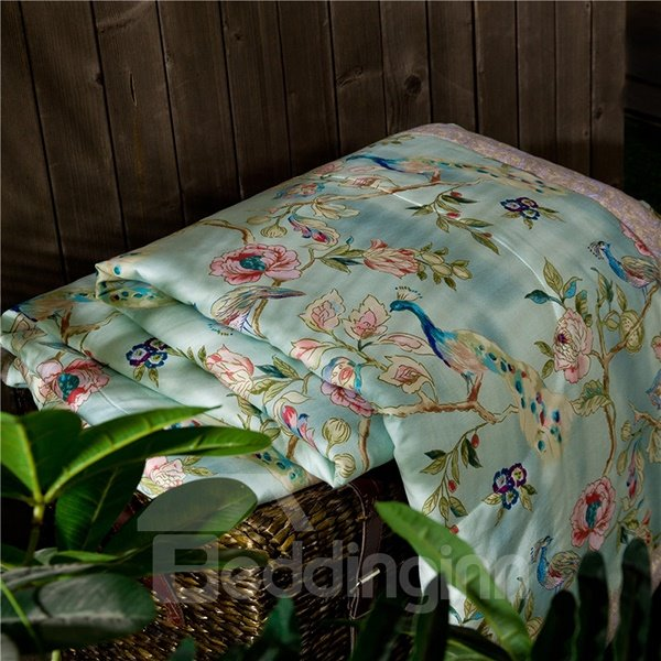 Pretty Beautiful Peacock Print Air Conditioner Quilt
