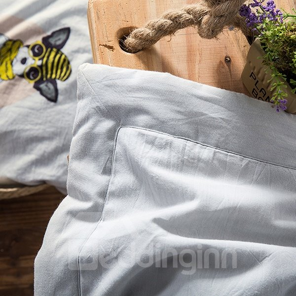 Adorable Cartoon Dog Print Gray Cotton Quilt