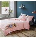 Stylish Cartoon Dog Print Pink Cotton Quilt