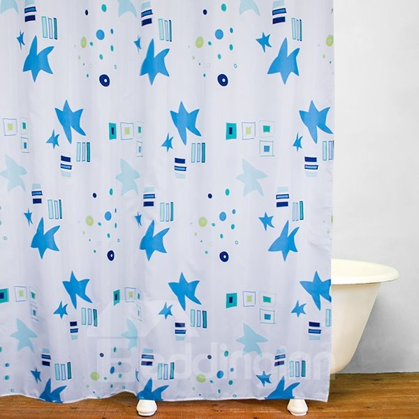 Blue Clip Art Stars Polyester Printing Shower Curtain