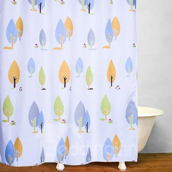 Lovely Hand Painted Trees Print Bathroom Decor Shower Curtain