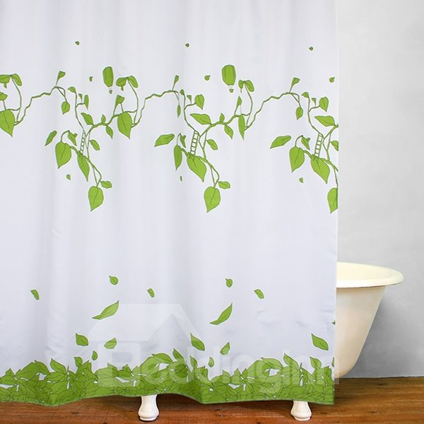Lively Green Leaves Print Waterproof Shower Curtain