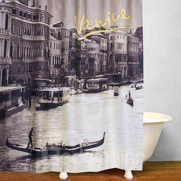 Venice City Views Print 3D Bathroom Shower Curtain