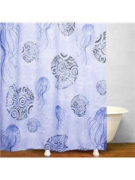Abstract Jellyfish and Sea Snails Printing Shower Curtain