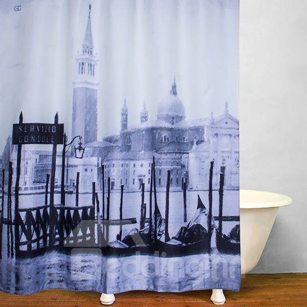 City on the Water Print 3D Bathroom Shower Curtain