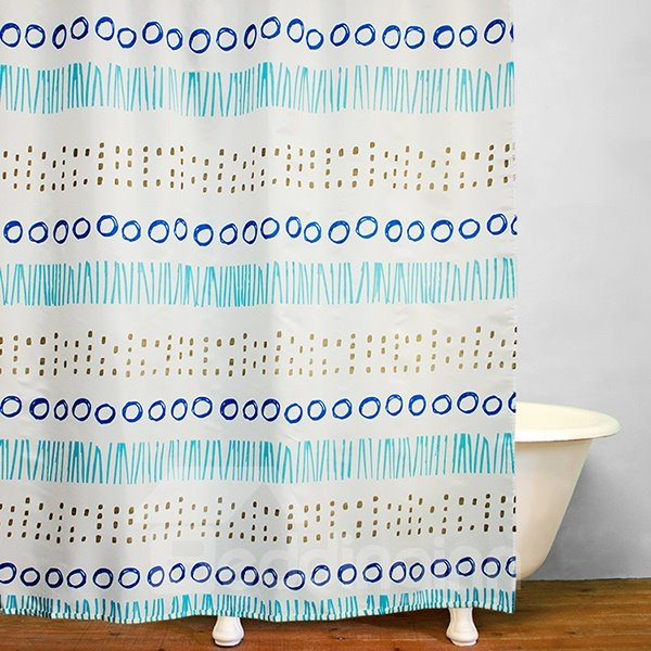 Modern Decor Concise Geometric Waterproof Shower Curtain