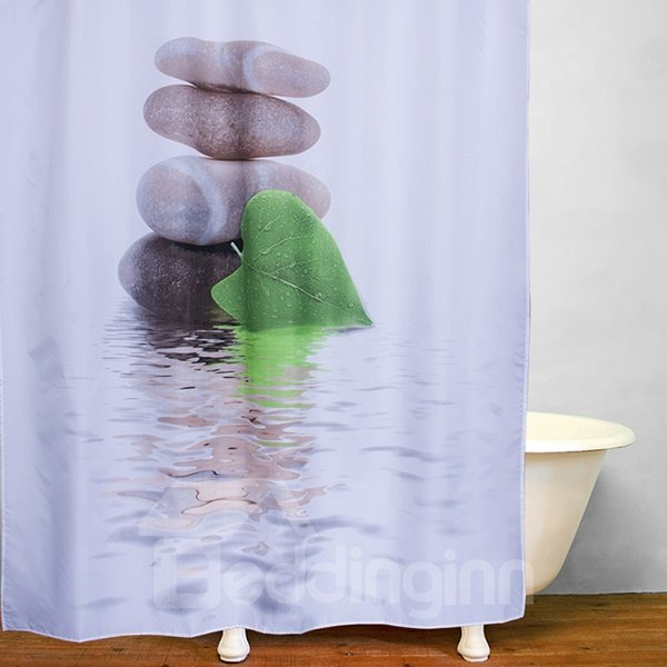 Stacked Rocks Leaf in front of Pebbles Tower Print 3D Bathroom Shower Curtain