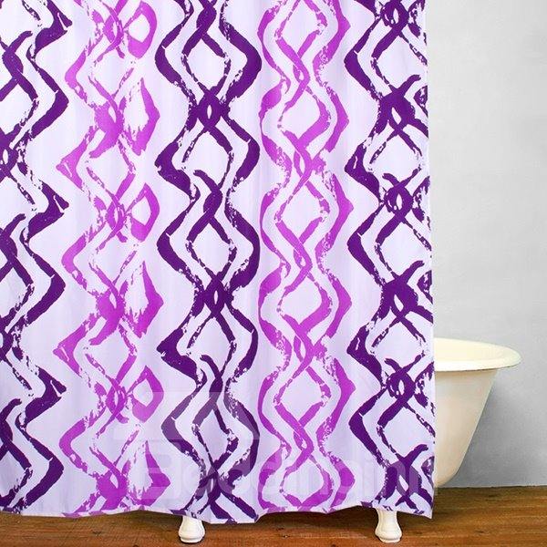 3D Purple Ripple Pattern Printed Polyester Shower Curtain