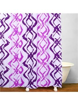 Modern Style Purple Wavy Stripes Waterproof Shower Curtain