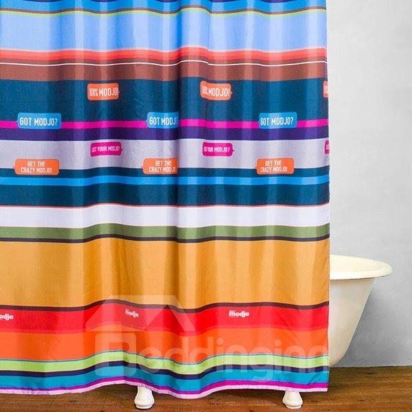 Colored Stripes Bathroom Decor Waterproof Shower Curtain