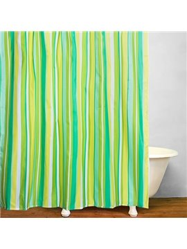 Modern Green Stripes Reactive print Waterproof Shower Curtain
