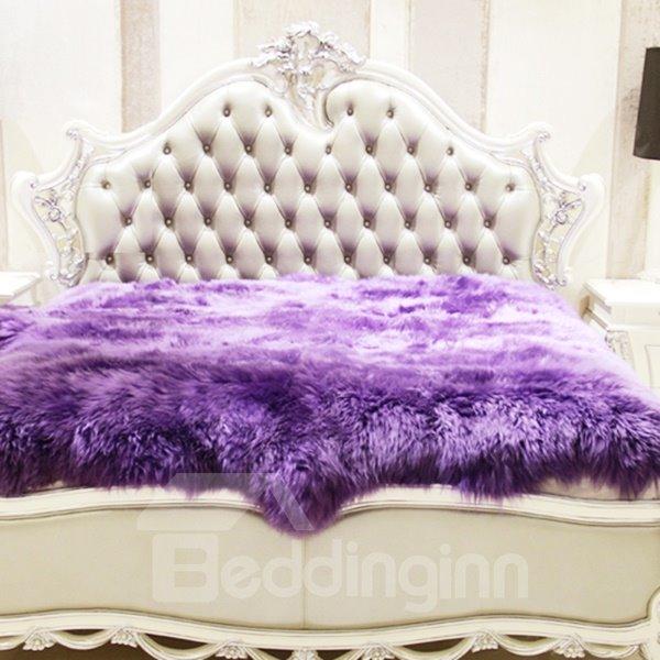 Luxurious and Elegant Long Wool Sheepskin Purple Blanket