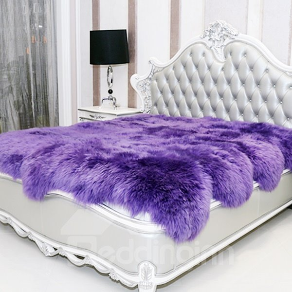 Luxurious and Elegant Long Wool Sheepskin Purple Blanket