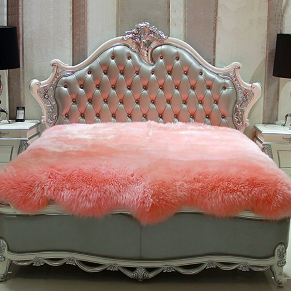 Royal Cozy Australian Lamb Fur Pink Blanket
