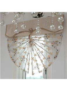 Modern Decor Floral Embroidery Voile Roman Shades