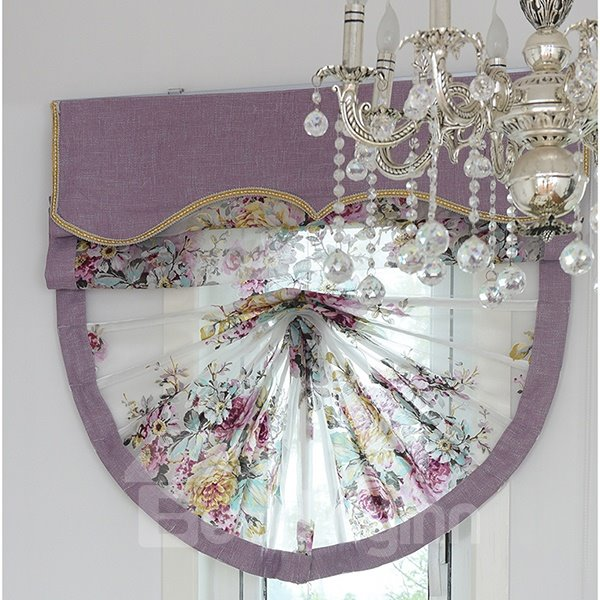 European Romantic Purple Peony Printing Voile Roman Shades