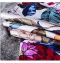Stylish Multicolored Flower and Leaves Print 4-Piece Cotton Duvet Cover Sets