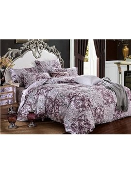 Noble Jacobean Pattern 100% Cotton 4-Piece Duvet Cover Sets