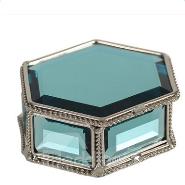 Gorgeous Bright Blue Crystal Hexagon Jewelry Box Desktop Decoration