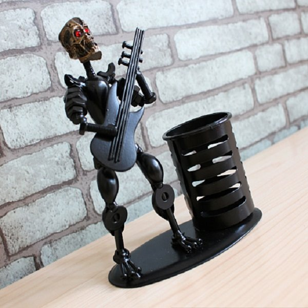 Creative Black Human Skeleton and Guitar Shape Pen Holder