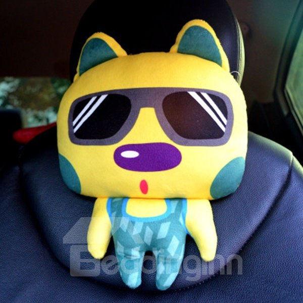 Cool And Charming Cartoon Rabbit With Glasses Car Pillow