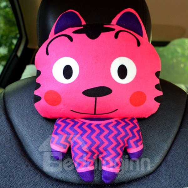 Cute And Funny Cartoon Tiger Plush Material Car Pillow