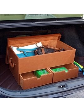 Simple Solid Muti-Use Three Drawer Popular Design Leather Trunk Organizer