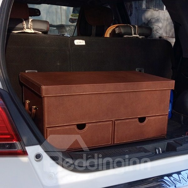 Luxurious Most Popular High Capacity With Three Drawer Leather Material Trunk Organzer