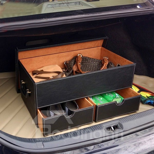 Attractive Black Color With Three Drawer High Capacity Leather Trunk Organizer