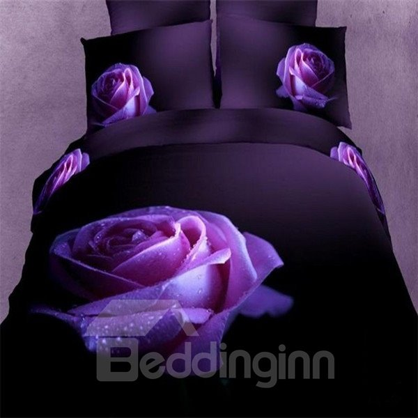 Charming Lifelike Purple Rose 3D Printed Cotton Fitted Sheet