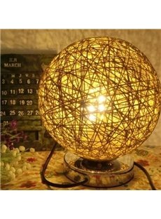 Rural Style Rattan Ball Design Table Lamp