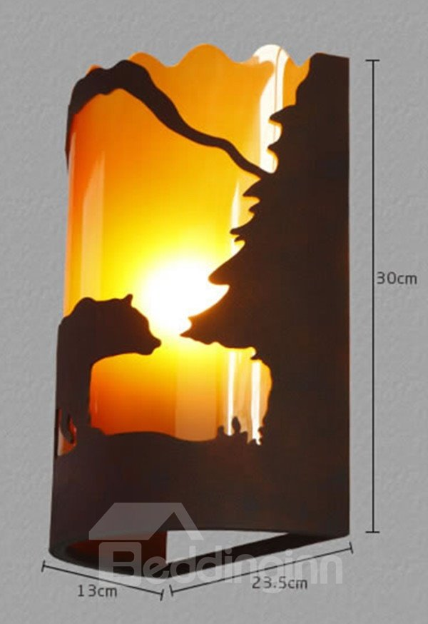 Retro American Country Resin Bear Wall Light