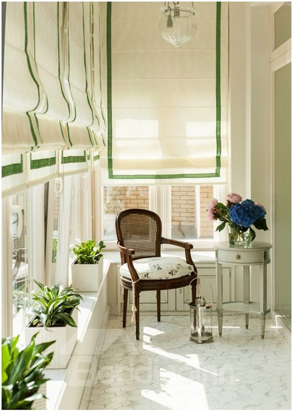 American White Flat Shaped Roman Shades With Green Border