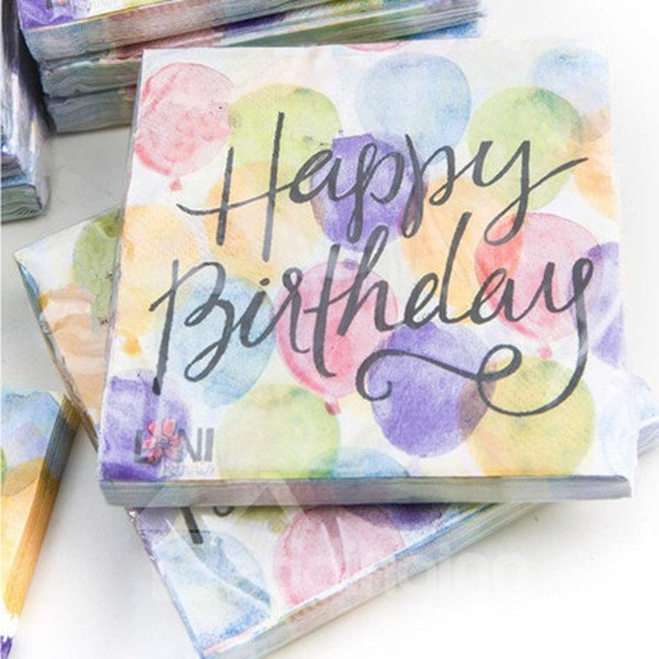 Personalized Exquisite Happy Birthday Print Paper Napkins