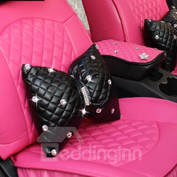 Attractive And Most Comfortable Bow Style With Diamond PU Leather Car Pillow