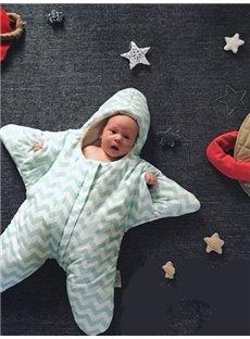 Lovely Little Star Shape Green Stripe Cotton Baby Sleeping Bag