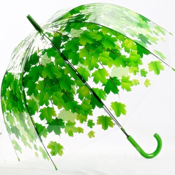 Beautiful Maple Leaves Print Transparent Water-Proof Umbrella