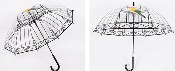 Creative 3D Birdcage Design Transparent Water-Proof Umbrella
