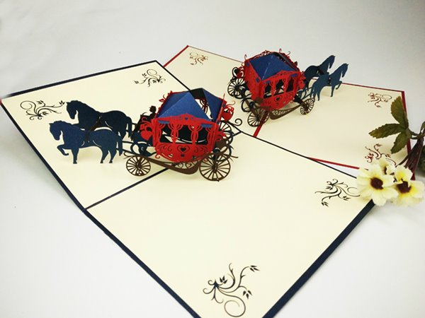 Classic Carving Carriage 3D Greeting Cards