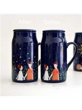 Fireflies around Couples Creative Heat Sensitive Color Changing Coffee Cup